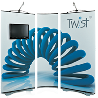 The Twist Banner range can include a TFT/LCD TV and DVD player using a standard VESA mount for more dynamic exhibition stand configurations